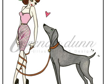 Pinup girl - 'Puppy Love'  Illustration by Brenda Dunn