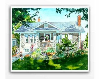 Watercolor house portraits Custom painting of your home Artwork from photo Painted house sketch