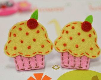 Set of 6pcs handmade felt cupcake--baby pink (FT834)