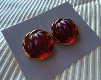 Pair of Vintage Avon New in Box Simulated Ruby and Goldtone Raj Pierced Earrings