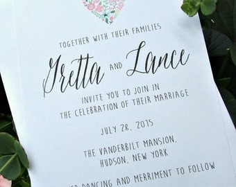 Floral Heart Wedding Invitations