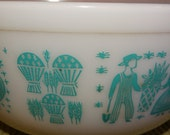 PYREX MILK GLASS, Rare Powder Colonial Teal Serving Bowl, Milk Glass, Wheat, Farmer, Rooster, Farm Life
