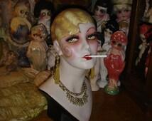 Blonde Smoking Boudoir Doll Flapper Mannequin Head Hat Stand Jewelry Display
