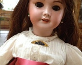 SFBJ 301 French Bisque Antique Bebe Doll size 20 inch 8/0 Marking with Human Hair Wig and Vintage Dress SALE