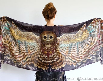 Owl wings scarf, bohemian bird feathers shawl, Night owl, hand painted, digital print, sarong, perfect Valentine gifts
