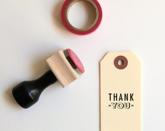 NEW Cute Thank You Stamp, now in 2 Sizes! (Wood Mounted) Midcentury Modern Design, Original Rubber Stamp with optional wooden handle (SP901)