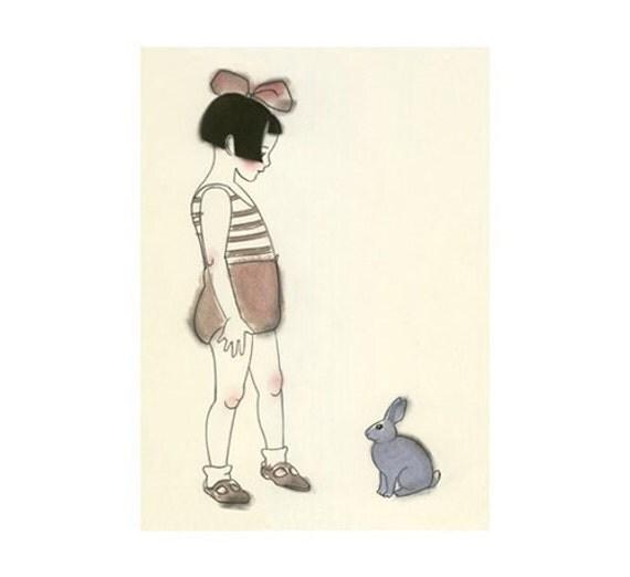 "Nursery art nursery print   rabbit art print. 4"" X 6"" print - 4 for 3 SALE"