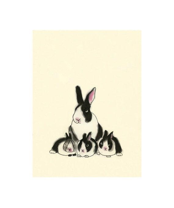 Bunny Rabbit art print -  Rabbit Family Portrait  -  4 X 6 print - 4 for 3 Sale