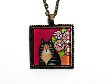 Maine Coon Cat Art Pendant/ Brown Tabby Cat on Fuchsia/ Jewelry by Susan Faye