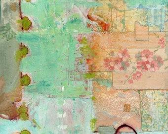 Mixed Medium Collage Art Original Abstract Canvas Painting Wall Decor  Bohemian Decor, Mint Green