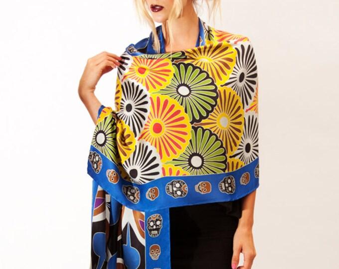 Boho Gift Scarf, Japanese scarf, Flower silk scarf, Skull Silk Scarf, Batik scarf, Womens Scarf, Nature Scarf, Boho Shaw, Boho Accessories