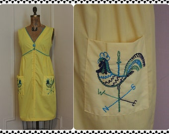 Barnyard Chic, vintage 60s Bright Yellow ROOSTER House Dress - day dress, sun dress, weathervane, country - size 14, large