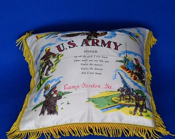 """US Army """"Sister"""" Pillow Cover from Camp Gordon, Georgia"""