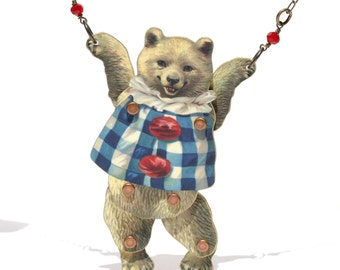 Gingham Bear Puppet Necklace - Bear Necklace - Bear Jewelry - Bear Pendant - Puppet - Puppet Jewelry - Toy Jewelry - Polar Bear - Bear -