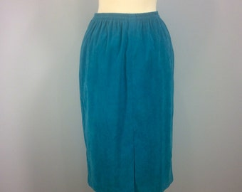 Vintage Leslie Fay skirt, ultra suede skirt, teal skirt, retro skirt,