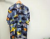 Vintage Rayon Hawaiian Shirt Sunset Scenic Palms and Sea XXL