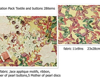 Pink Textile Butterfly Fabric Inspiration Craft Pack / Craft Kit, Collage Kit,Cottage Chic Floral Spring Summer Crafts