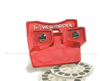 Vintage Viewmaster Toy Watercolor Print