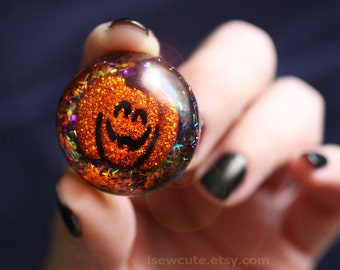 Halloween Jewelry, Ring, Novelty, Pumpkin Halloween Spooky Trick or Treat Ring, Giant Adjustable Ring, Orange Glitter Jewelry by isewcute