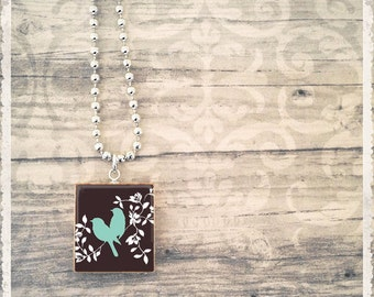 Scrabble Tile Art Pendant - 2 Birds Sitting In A Tree - Scrabble Jewelry Charm - Customize - Choose Your Style