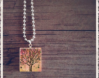 Scrabble Tile Art Pendant - Whimsical Art Series - Pink Tree - Scrabble Jewelry Charm - Customize