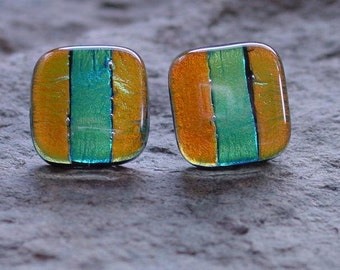 SALE. Gold and Teal Stripes. Fused Dichroic Glass Post Earrings.  17mm squares.