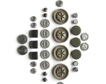 Vintage Grey Buttons . Gray Button Sets . Button Collection . Sewing Supplies