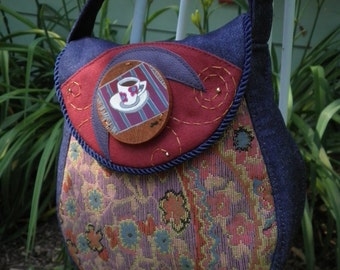 Painted Tea Cup Round Purse Original Mixed Media Adjustable Strap Shoulder Bag
