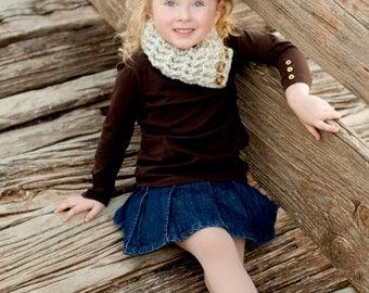 Kids Scarflette 4T to Preteen Toddler Girl Scarf Toddler Boy Scarf Toddler Scarflette Girl Scarflette Boy Scarflette Wheat Button Cowl