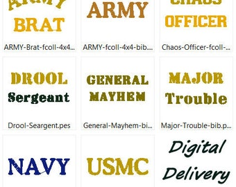 Military related sayings for Kids & Babies Embroidery Design Set of 8, PES 4x4 Files - Free Shipping