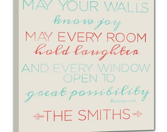 May Your Walls Know Joy- Wall Decor Sign with cutom names STOCK 20X20