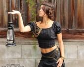 BAVARIAN PIRATE TOP - Blouse Steampunk Boho Tribal Belly Dance Steam punk Burning man Halloween costume Plus size Gypsy - Black