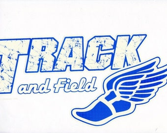 SPORTS: TRACK & FIELD . Actual picture is approx 8 x 11 inches within White 16 inches Fabric Panel. For Quilt or Sew.