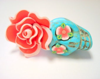 Gigantic Turquoise Sugar Skull and Red White Rose Day of the Dead Pendant or Ornament
