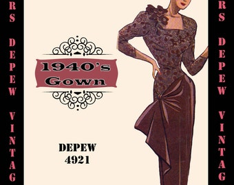 Vintage Sewing Pattern 1940's Cocktail Dress in Any Size - PLUS Size Included - Depew 4921 -INSTANT DOWNLOAD-