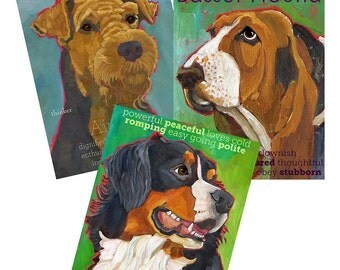 You Pick 3 designs any size prints - 20% off - dog portrait, dog breed wall art