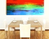LARGE abstract PAINTING on WOOD - 48x24 Original Painted Wood Modern Abstract Painting-   by Rosemary Pierce