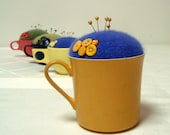 Indigo Blue Purple Gold Pincushion Melmac Mug Upcycled Sewing Accessory