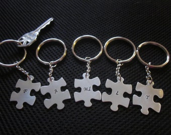 Family puzzle pieces Keychain set choice of 2, 3, 4, 5, or 6 puzzle pieces Gifts for family members or friends