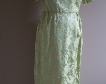 1960's Lime Green and Gold Brocade Fabric Maxi Dress