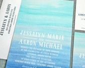 Jessalyn Watercolor Beach Wedding Invitation Sample - Destination Aqua and Blue Watercolor Beach Wedding Invitation