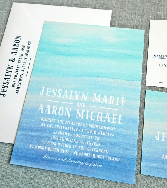 For Beach Wedding Invitation Sample: Jessalyn Watercolor Beach Wedding Invitation Sample