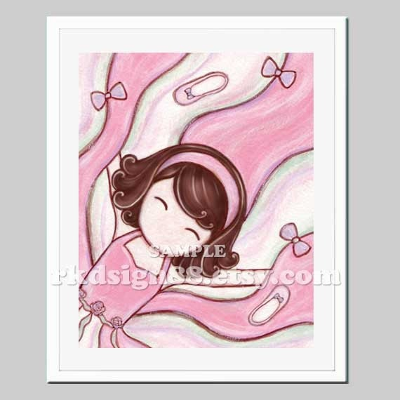 Ballerina art print, baby girl nursery decor, children illustration, ballet pink tutu, brown hair, Yippie