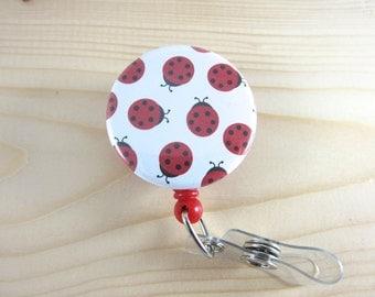 Cute Badge Reel Retractable ID Badge Holder - Little Ladybugs