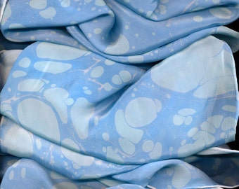 Blue Waters - marbled silk scarf - marbling ebru china silk
