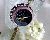 Steampunk Vintage Compass Rose  Necklace -  Steampunk  Wanderlust Compass Travel Necklace - Long Tassel Necklace