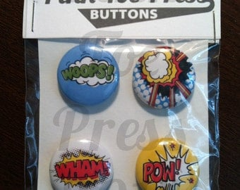 Comic Sounds Pinback Button Pack of 4