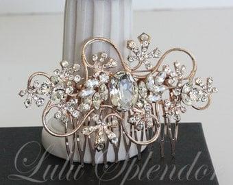 Rose Gold Bridal Hair Comb Vine Leaf Wedding Hair Comb with Swarovski Crystal Bridal Accessory GIANNA