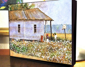 "Louisiana Cotton Field Shotgun House Folk Art ""Down In Louisiana"" 8x10x1.5"" and 11x14x1.5"" Gallery Wrap Canvas Print"