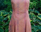 Cotton Sun Dress Shibori Dyed in Adobe and Indigo with Natural Dyes